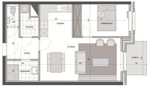 1 slaapkamer appartement